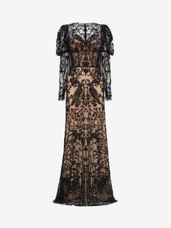 ALEXANDER MCQUEEN Long Dress D Island Scene Embroidered Tulle Gown f