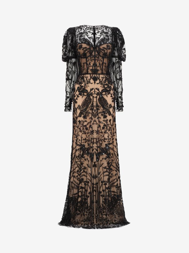 ALEXANDER MCQUEEN Island Scene Embroidered Tulle Gown Long Dress D f