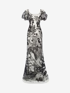 ALEXANDER MCQUEEN Long Dress D Sea Creature Embroidered Tulle Gown f