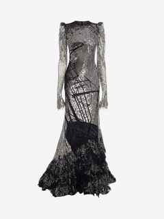 ALEXANDER MCQUEEN Long Dress D Long Embroidered Dress with Tulle Tail f