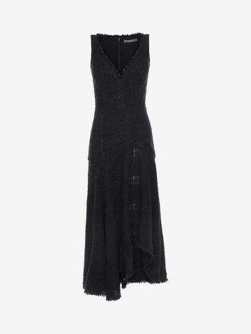 ALEXANDER MCQUEEN Asymmetric Draped Dress Long Dress D f