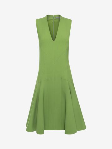 ALEXANDER MCQUEEN V-Neck Silk Dress Mid-length Dress D f