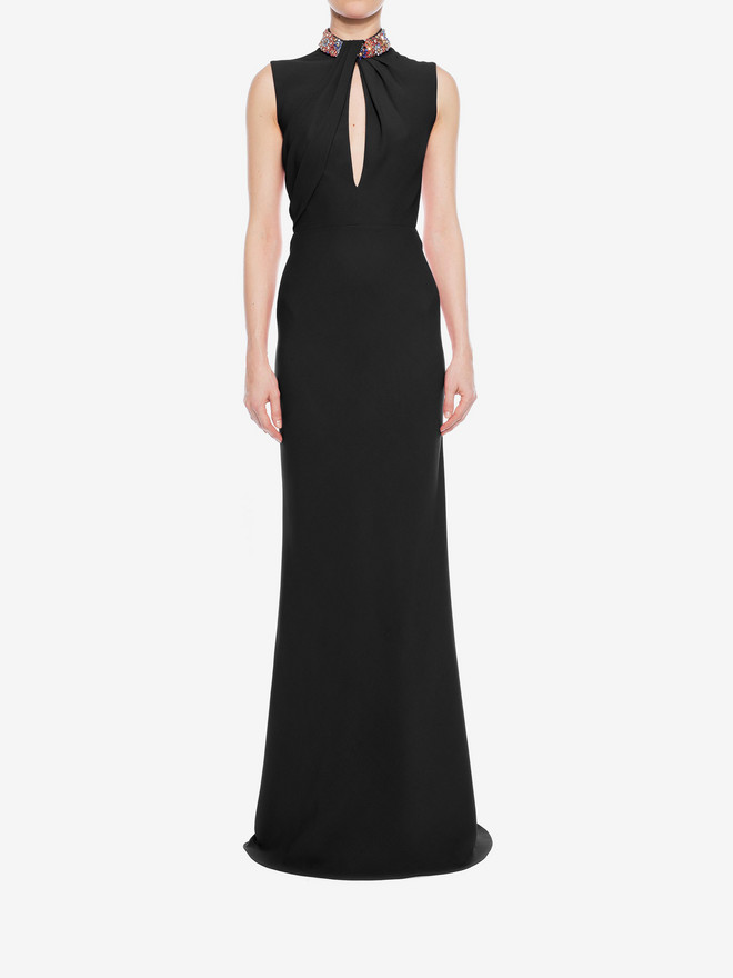 ALEXANDER MCQUEEN Embroidered Halter Neck Evening Dress Long Dress D r