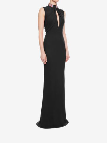 ALEXANDER MCQUEEN Embroidered Halter Neck Evening Dress Long Dress D d