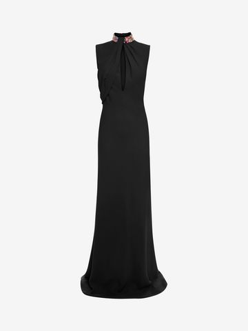 ALEXANDER MCQUEEN Embroidered Halter Neck Evening Dress Long Dress D f