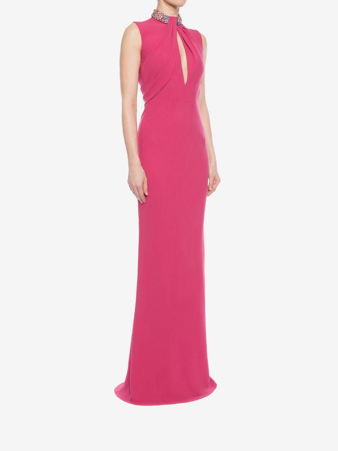 ALEXANDER MCQUEEN Embroidered Halter Neck Evening Dress Long Dress D d