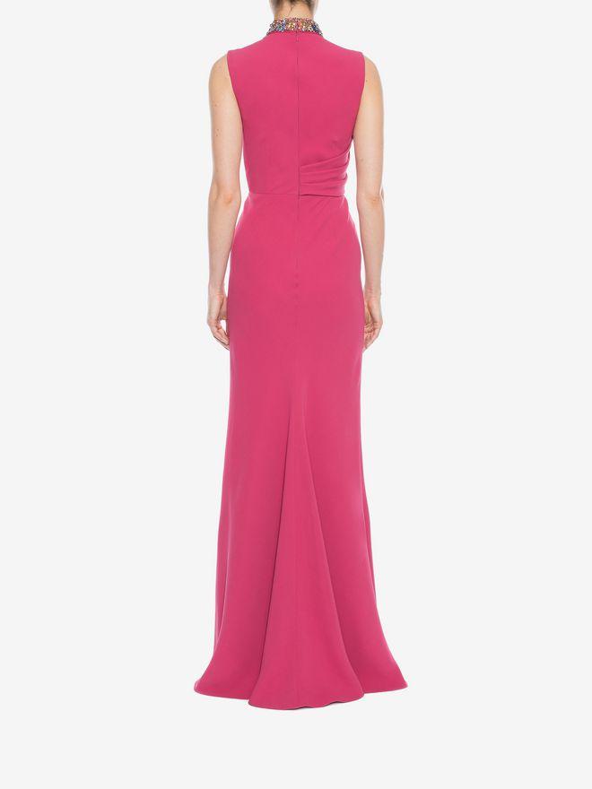 ALEXANDER MCQUEEN Embroidered Halter Neck Evening Dress Long Dress D e
