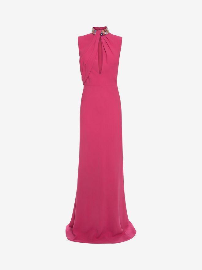 ALEXANDER MCQUEEN Embroidered Halter Neck Evening Dress Long Dress D f
