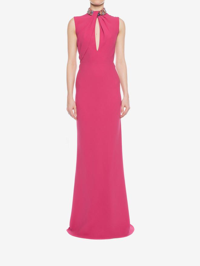 ALEXANDER MCQUEEN Embroidered Halter Neck Evening Dress Long Dress D r