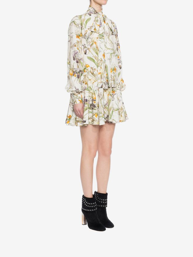 ALEXANDER MCQUEEN Wild Iris Bow Detail Mini Dress Mini Dress D d