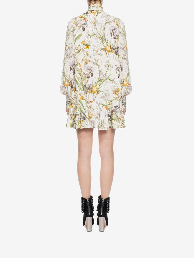 ALEXANDER MCQUEEN Wild Iris Bow Detail Mini Dress Mini Dress D e