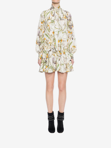 ALEXANDER MCQUEEN Wild Iris Bow Detail Mini Dress Mini Dress D r