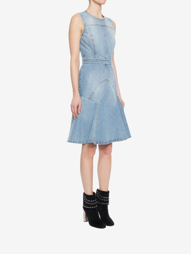 ALEXANDER MCQUEEN Faded Denim Dress Mini Dress Woman d
