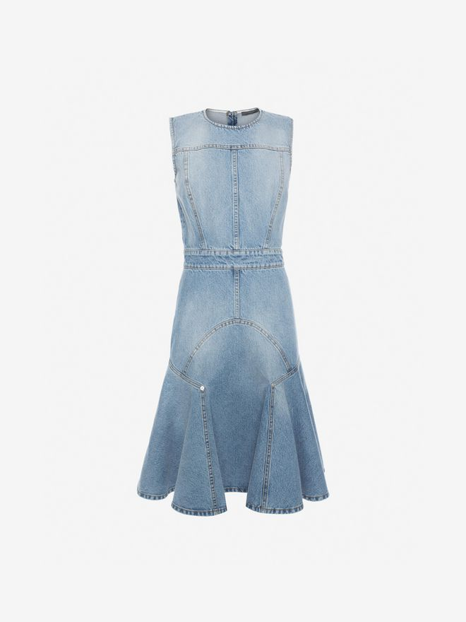 ALEXANDER MCQUEEN Faded Denim Dress Mini Dress Woman f