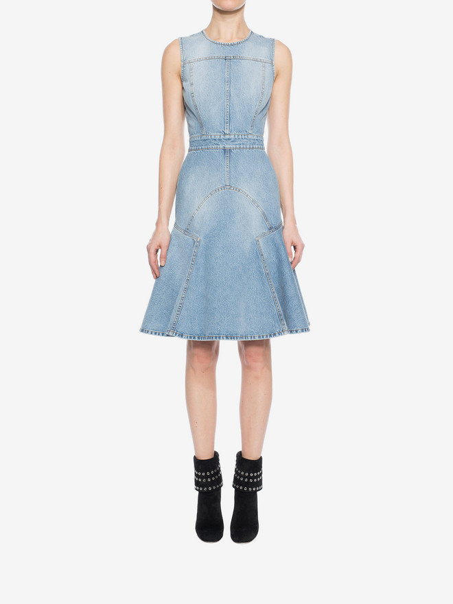 ALEXANDER MCQUEEN Faded Denim Dress Mini Dress Woman r