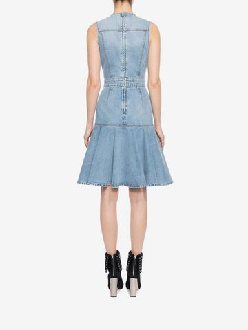 ALEXANDER MCQUEEN Faded Denim Dress Mini Dress Woman e