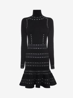 ALEXANDER MCQUEEN ミニドレス D Roll neck Eyelet Mini Dress f