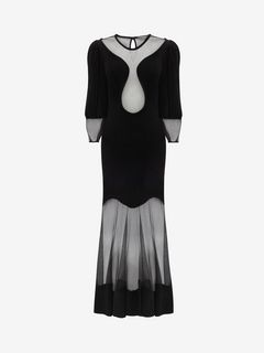ALEXANDER MCQUEEN ロングドレス D Balloon sleeve knit Dress f