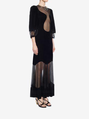 ALEXANDER MCQUEEN Balloon Sleeve Knit Dress Long Dress D d