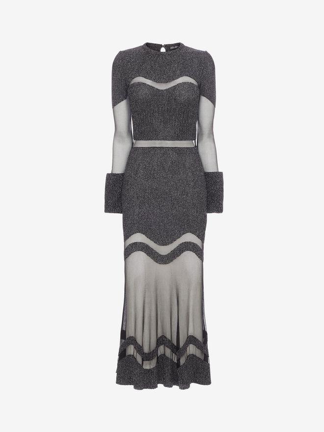 ALEXANDER MCQUEEN Bouclé Knit Long Dress Long Dress D f