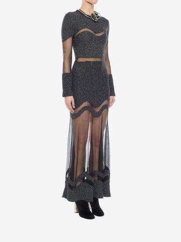 ALEXANDER MCQUEEN Bouclé Knit Long Dress Long Dress D d