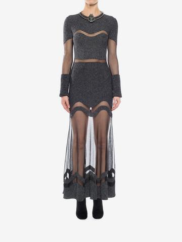ALEXANDER MCQUEEN Bouclé Knit Long Dress Long Dress D r