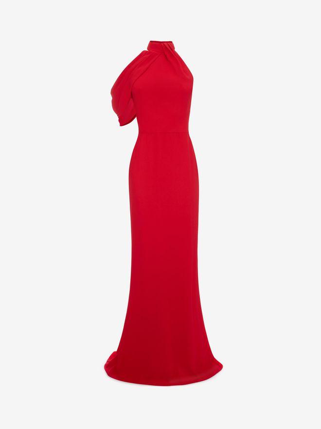 ALEXANDER MCQUEEN Draped Halter Neck Evening Dress Long Dress D f