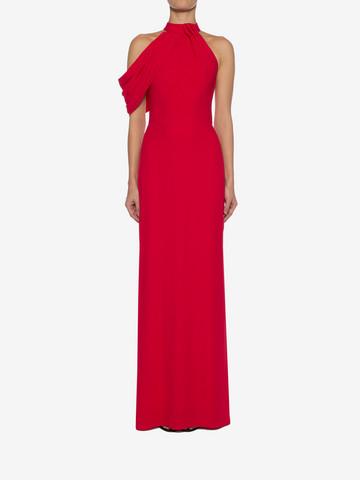 ALEXANDER MCQUEEN Draped Halter Neck Evening Dress Long Dress D r