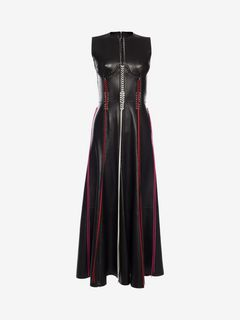 ALEXANDER MCQUEEN ロングドレス D Whip-Stitched Leather Dress f