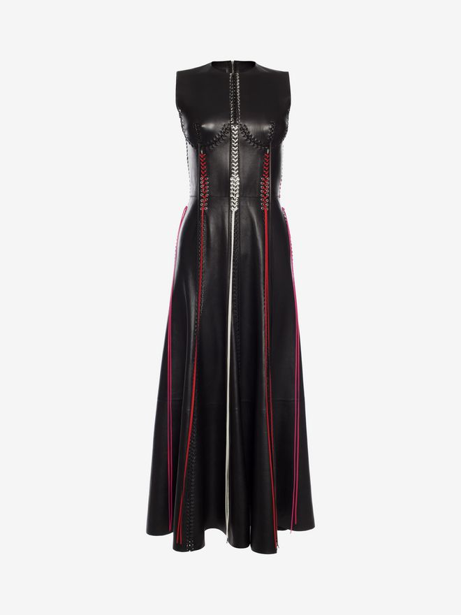 ALEXANDER MCQUEEN Whip-Stitched Leather Dress Long Dress D f