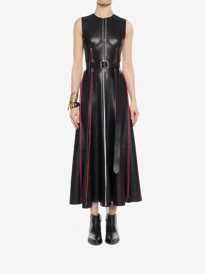ALEXANDER MCQUEEN Whip-Stitched Leather Dress Long Dress D r