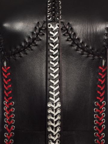 ALEXANDER MCQUEEN Whip-Stitched Leather Dress Long Dress D a