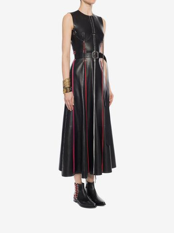 ALEXANDER MCQUEEN Whip-Stitched Leather Dress Long Dress D d