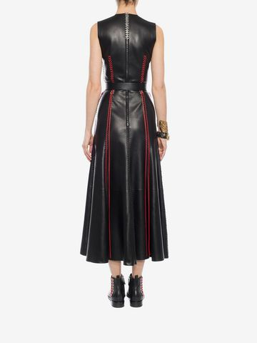 ALEXANDER MCQUEEN Whip-Stitched Leather Dress Long Dress D e
