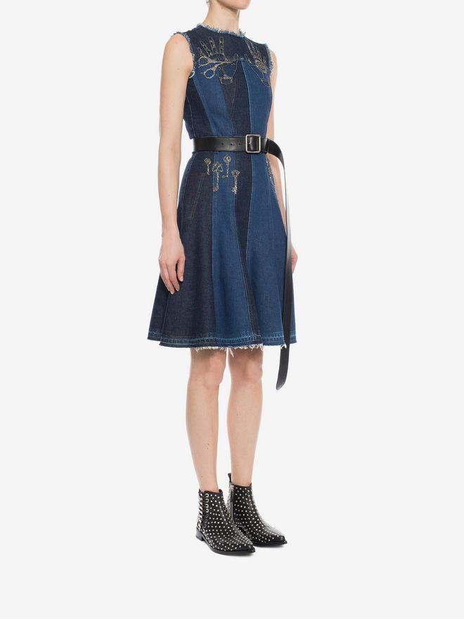 ALEXANDER MCQUEEN Embroidered Mini Denim Dress Mini Dress D d