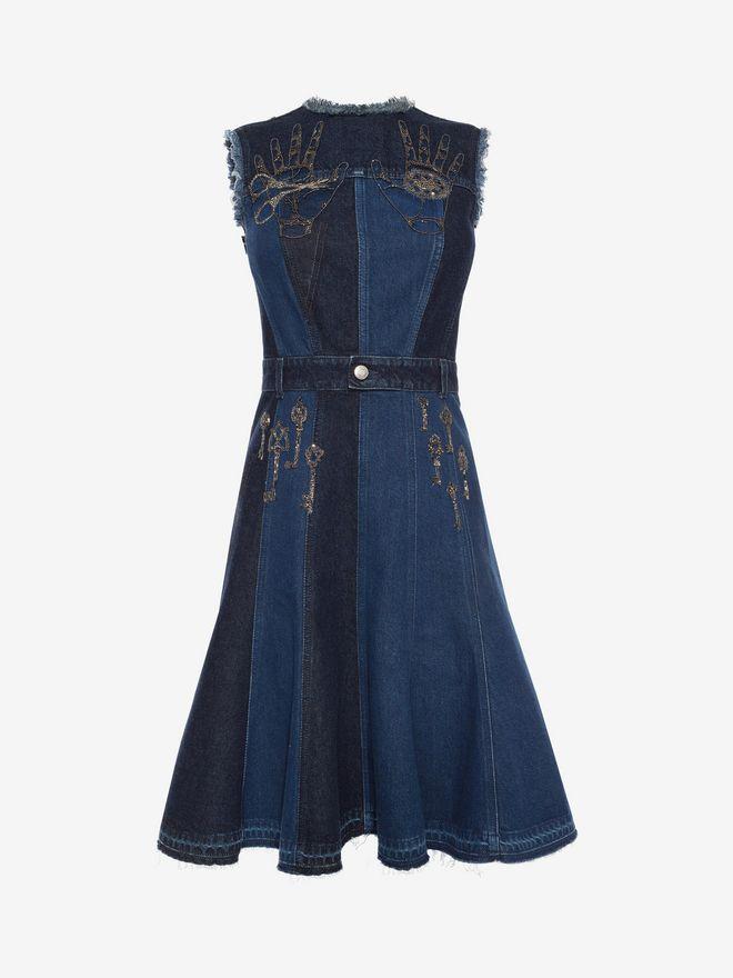 ALEXANDER MCQUEEN Embroidered Mini Denim Dress Mini Dress D f