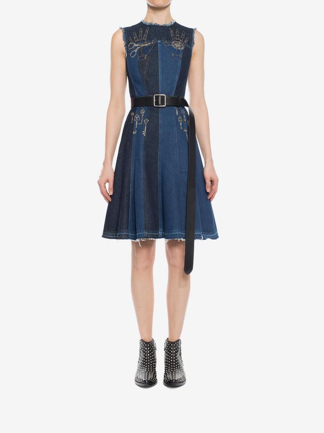 ALEXANDER MCQUEEN Embroidered Mini Denim Dress Mini Dress D r