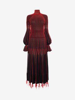 ALEXANDER MCQUEEN ロングドレス D Long-Sleeve Knit Dress With Roll Neck f