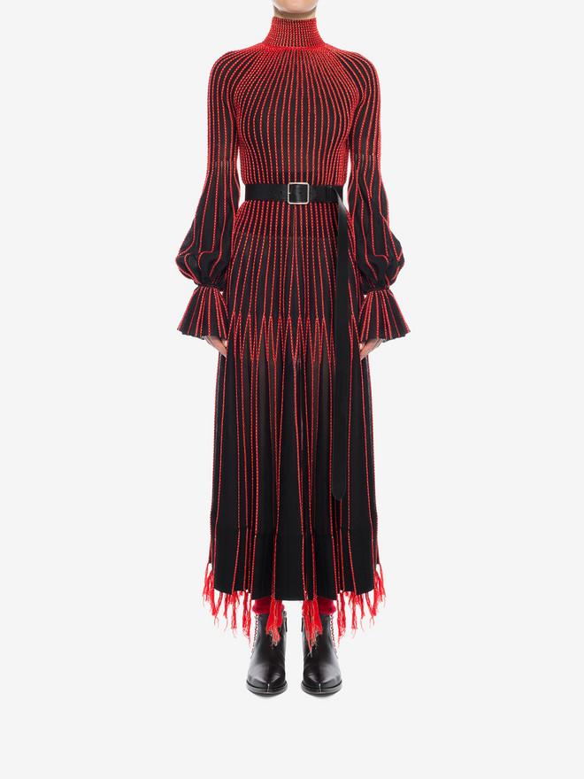 ALEXANDER MCQUEEN Long-Sleeved Knit Dress With Roll Neck Long Dress D r