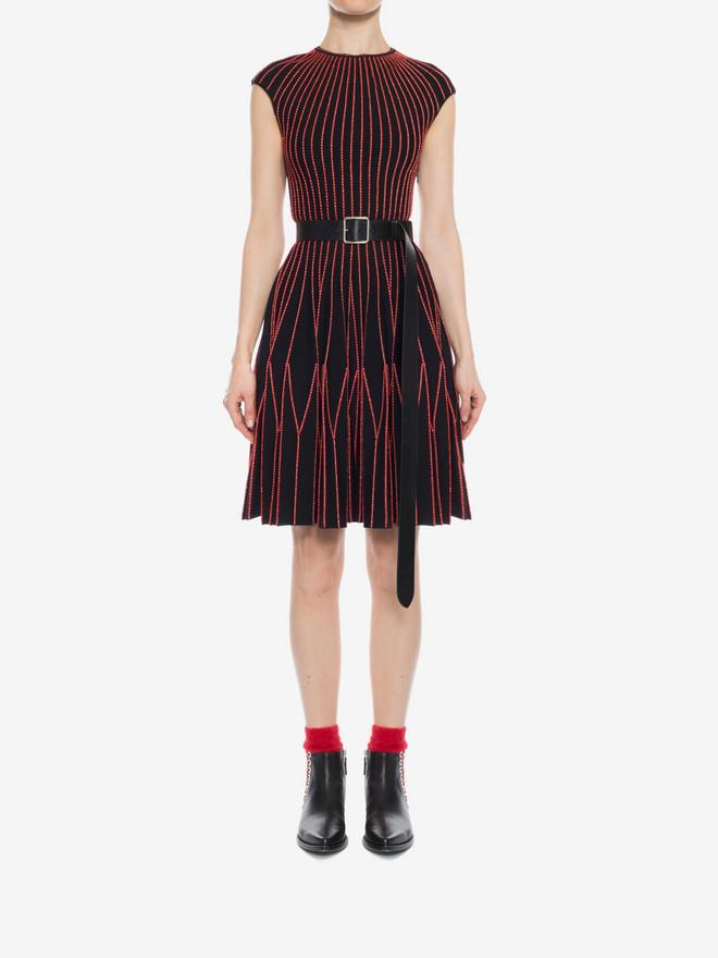 ALEXANDER MCQUEEN Cap Sleeve Mini Knitted Dress Mini Dress D r