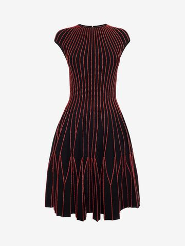 ALEXANDER MCQUEEN Cap Sleeve Mini Knitted Dress Mini Dress D f