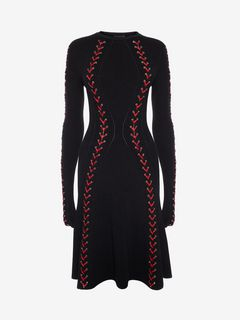 ALEXANDER MCQUEEN ミニドレス D Bouclé Knit Mini Dress with Leather Lacing f