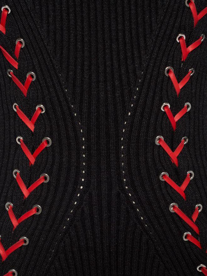 ALEXANDER MCQUEEN Bouclé Knit Mini Dress with Leather Lacing Mini Dress D a