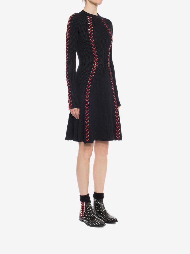 ALEXANDER MCQUEEN Bouclé Knit Mini Dress with Leather Lacing Mini Dress D d
