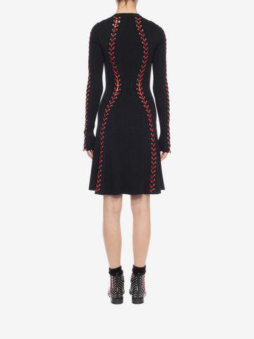 ALEXANDER MCQUEEN Bouclé Knit Mini Dress with Leather Lacing Mini Dress D e