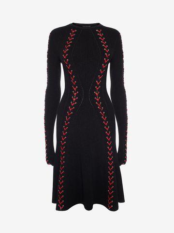 ALEXANDER MCQUEEN Bouclé Knit Mini Dress with Leather Lacing Mini Dress D f