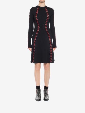 ALEXANDER MCQUEEN Bouclé Knit Mini Dress with Leather Lacing Mini Dress D r