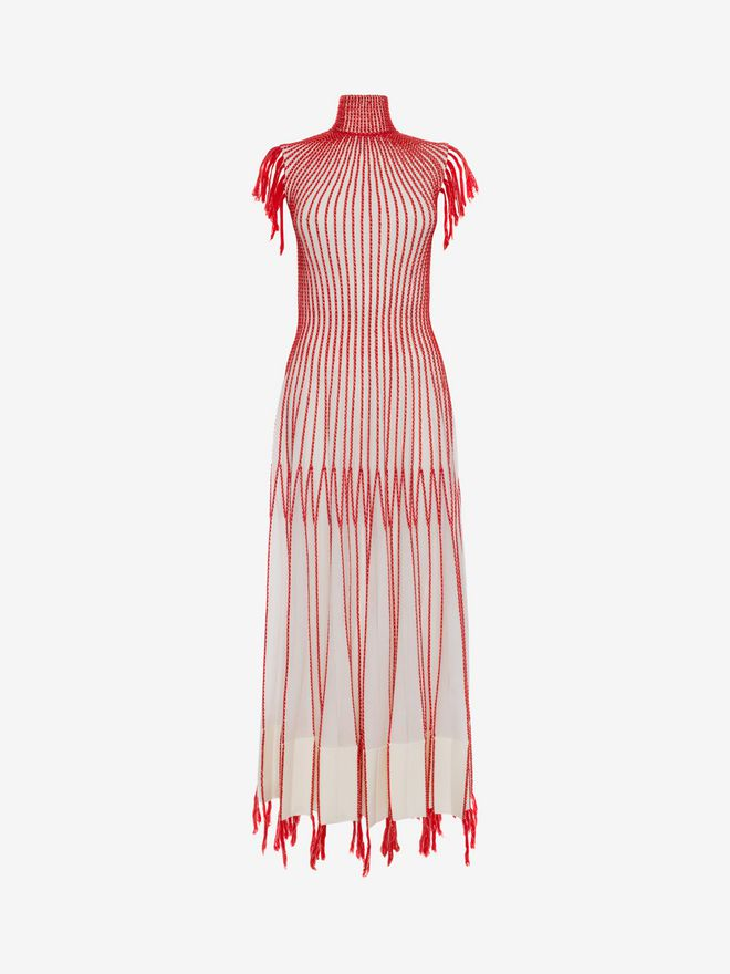 ALEXANDER MCQUEEN Long Knit Dress With Roll Neck Long Dress D f