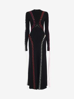 ALEXANDER MCQUEEN ロングドレス D Bouclé Knit Long Dress with Leather Lacing f