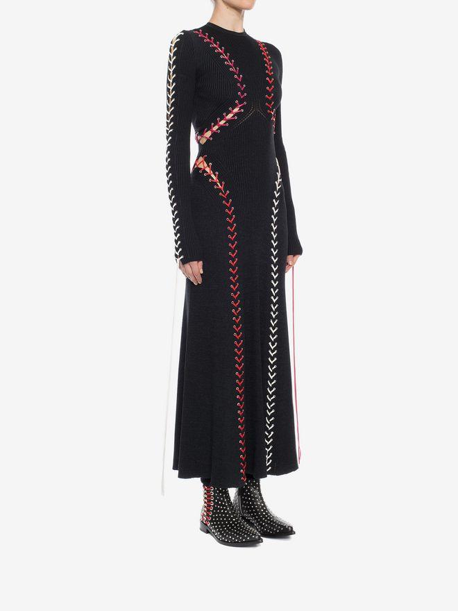 ALEXANDER MCQUEEN Bouclé Knit Long Dress with Leather Lacing Long Dress D d